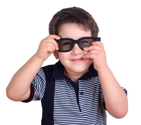 Cute funny little boy wearing sunglasses, isolated on white. Lif