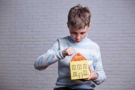Homeless, orphan, settler, migrant, adoption concept. Boy knocki