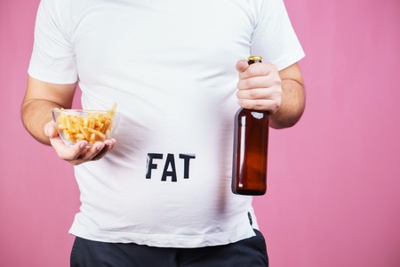Overeating, fast food, glutton, alcohol addiction