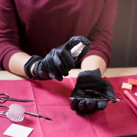 professional disinfection of manicure tools Фото со стока