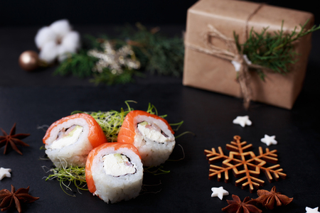 festive new year dinner, sushi,  japanese cuisine Stock Photo