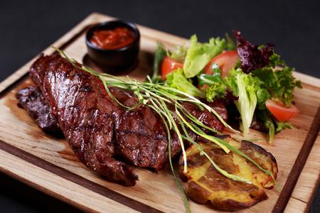 skirt steak, grill and barbeque restaurant menu Archivio Fotografico