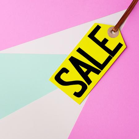 spring sale retail sticker on pastel background 写真素材