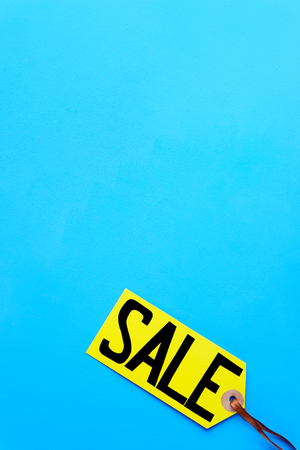 spring sale retail sticker on blue background Stock Photo