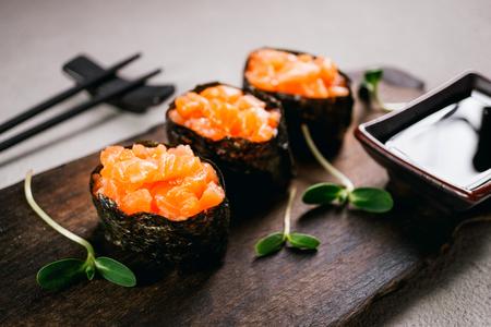 delicious seafood, salmon gunkan maki sushi rolls