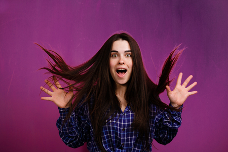 shocked surprised happy woman screaming of excitement. facial expressions and emotion concept Stok Fotoğraf
