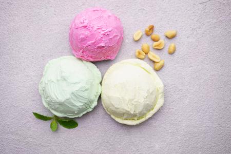 Various ice cream scoops set Stock Photo