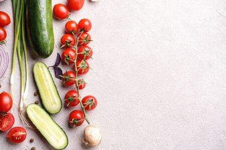 Healthy food background of vegetables and herbs