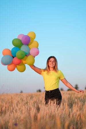 Birthday party, dreamer. girl with balloons