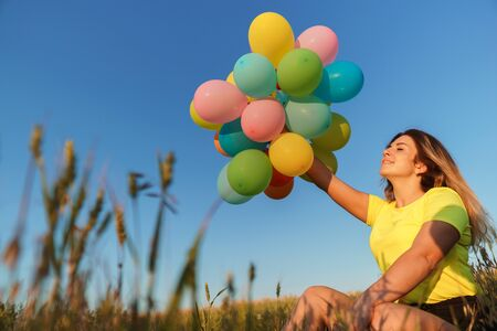 Happy girl enjoying the life, bright moment, summertime