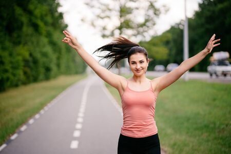 Female sportsman expressing positivity and success 写真素材