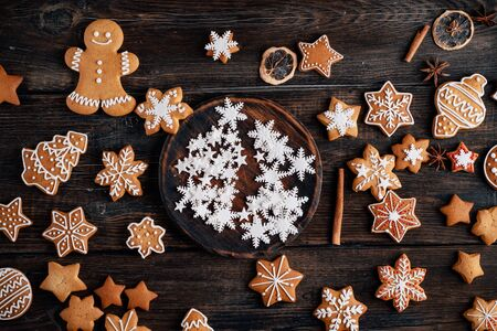 Christmas traditional gingerbread on wooden table Stock Photo