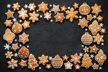Christmas background with gingerbread cookies Stock Photo