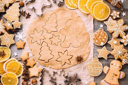 christmas gingerbread dough and baking ingredients Imagens