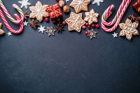 Christmas sweets and decorations composition