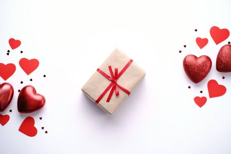 valentines day festive background with red hearts Stock Photo - 137480400
