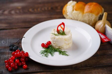 Traditional Ukrainian appetizer, raw lard Stock Photo