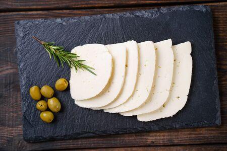 Georgian traditional Suluguni cheese slices