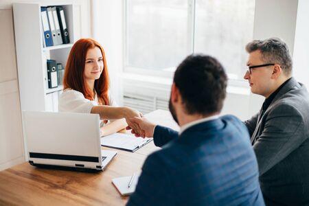 Business people handshake, successful negotiation