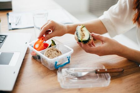 Healthy snack at office, lunch break Stock Photo