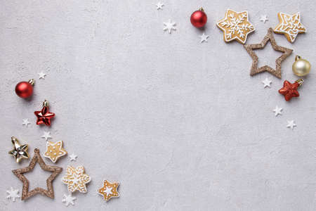 Christmas background with festive decorations Imagens