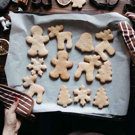 Christmas and New Year celebration traditions. Getting ready to celebration. Woman hands with freshly baked homemade gingerbread cookies Foto de archivo - 154917579