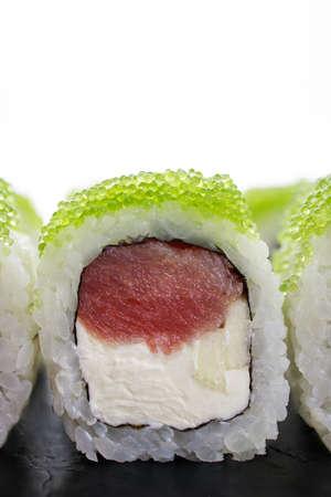 Sushi rolls with tuna and caviar, Japanese cuisine