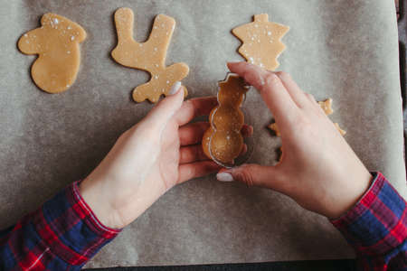 Christmas and New Year holidays, family weekend activities, celebration traditions. Mother cooking festive homemade sweets. Raw gingerbread dough cookies before baking Banco de Imagens