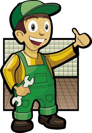 Smiling mechanic holding wrehch