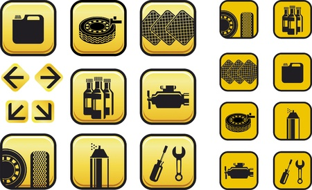 tire shop: Set on navigation icons for auto repair shop.