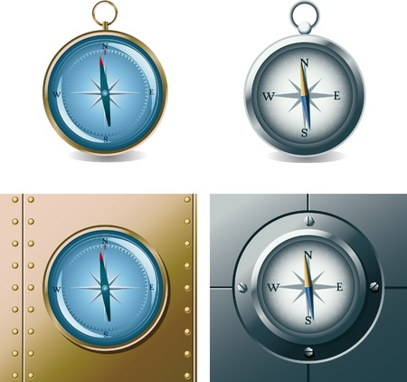 Set of different compasses Stock Vector - 9591353
