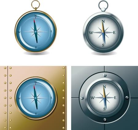 Set of different compasses Illustration