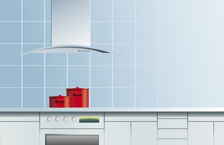 Two red pans on blue kitchen
