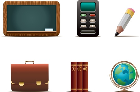 A set of 6 education related icons. Illustration