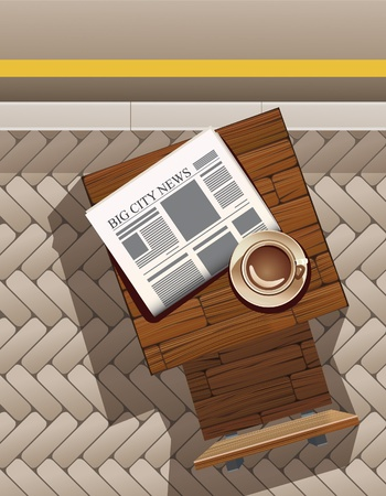 Morning coffee and newspaper at sidewalk cafe.  All objects are in separate layers and grouped individually. Very easy to edit.
