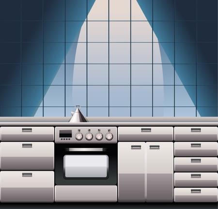 Modern steel kitchen interior Stock Vector - 9626723