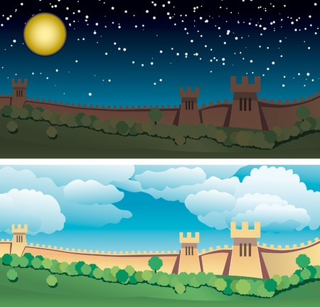 Great Wall of China. Day and night. All objects are in separate layers and grouped individually. Very easy to edit. Vector