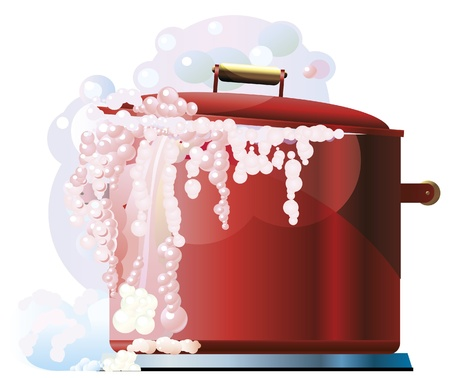 Vector illustration of red boiling pan on white background