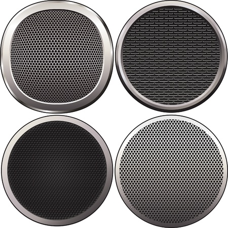 aperture grid: Four round speakers grilles