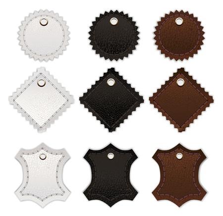 round shape: Set of leather labels. Illustration