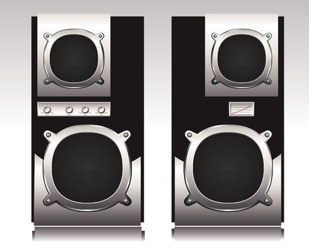 aperture grid: Detailed illustration of stereo speakers.