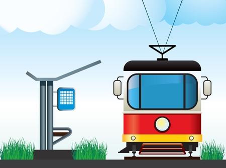 tranquil scene on urban scene: Tram on the stop. Illustration