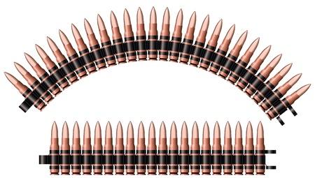 Twee machinegeweerriemen. Stock Illustratie