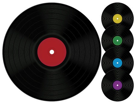 Five vinyl records with different labels. Illustration