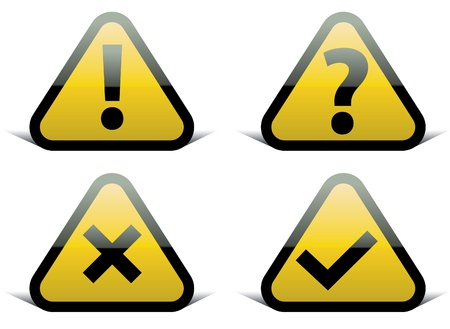 yellow attention: Set of vector signs