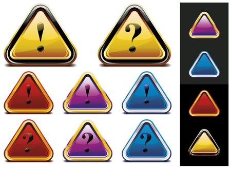 Set of different colors Question Mark and Exclamation Point signs. Vector