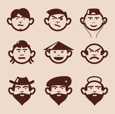 cowboy beard: Different faces and different emotions. Illustration