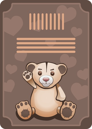 Teddy bear. Card with text area. All objects are grouped and layered.