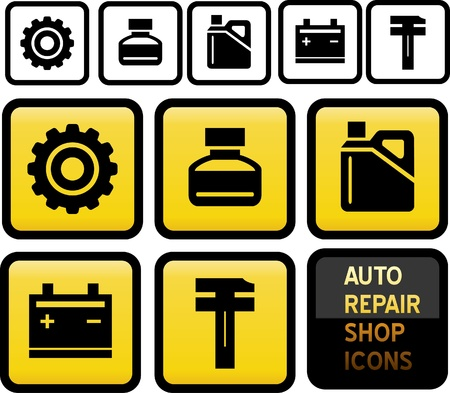 machine shop: Set of Auto Repair Shop Icons.