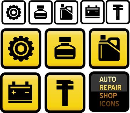 Zestaw ikon Auto Naprawa Shop.
